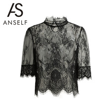 Anself Summer Sexy Sheer Lace Women Blouses Vintage Hollow Out Crochet Women Tops Plus Size Button Shirt Women Blusas Femininas