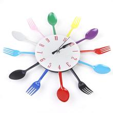 Modern Unique Aluminum Spoon Fork Clock Cutlery Kitchen Wall Clock Colorful