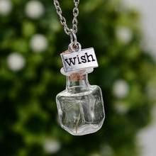 2017 New Original Drifting Bottle Lively Pendent Necklaces Creative Natural Dry Dandelion Women Necklaces Flower Glass Girl Gift