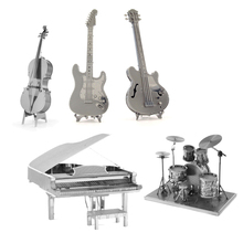 Jumrun 3D Metal Puzzles DIY Model Musical Instrument Band Guitar Violoncello Piano Drum Kit Children Toys Present Gift(China)