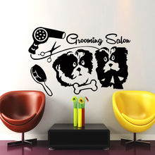 Cute Dog Salon Wall Stickers E-co Friendly Vinyl Wall Decals Grooming Salon Decal Sticker Pet Shop Bedroom Dog Art Mural SA503