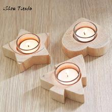 New Pattern Christmas Creative Gifts Bedroom Decoration Mini Wooden Candlestick Natal Decora o Christmas Decorations for Home(China)