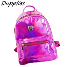 Dupplies Hologram Backpack Women School Shoulder Bags Small Backpacks Women's Laser Silver Color Back pack Mini Holographic Bags