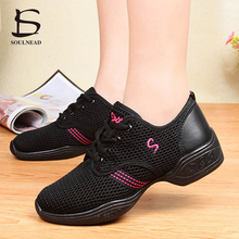 New Sports Feature Air Mesh Soft Outsole Breath Dance Shoes Sneakers For Woman Practice Shoes Modern Dance Jazz Shoes Discount(China)