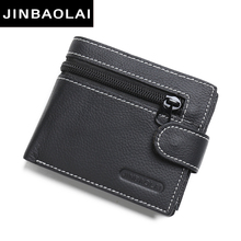 JINBAOLAI brand Wallet men genuine leather men wallets purse short male leather wallet men money bag quality guarantee carteira