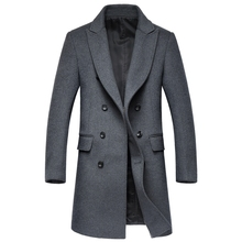 UHLRICHBWER Men Wool Jackets Fall Winter Brand Men Wool Coats Middle Long Coats Men Warm Wool Overcoat Mens Cashmere Coat 1721