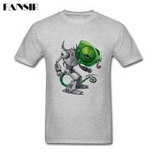 Men Male Tshirt Lizard Robot Fashion Shirts Science Fiction White Short Sleeve Custom XXXL(China)