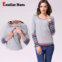 Emotion Moms Patchwork Long Sleeve Maternity clothes Winter Maternity Nursing Clothes Tops of Breastfeeding T-shirt for Pregnant(Hong Kong)