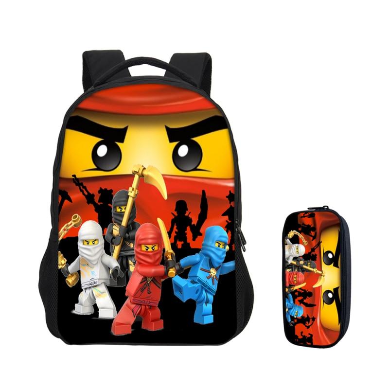 2018 VEEVANV Boys Cartoon Movie Lego Ninjago School Bags Pencile Case New 2 Pcs Set Lego Laptop Backpack Girls Bookbag Kids
