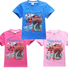 2017 New design 4 pcs/lot Moana Cartoon boys girls short sleeve summer t shirt boy girl t-shirt tee tees kids childrens tops