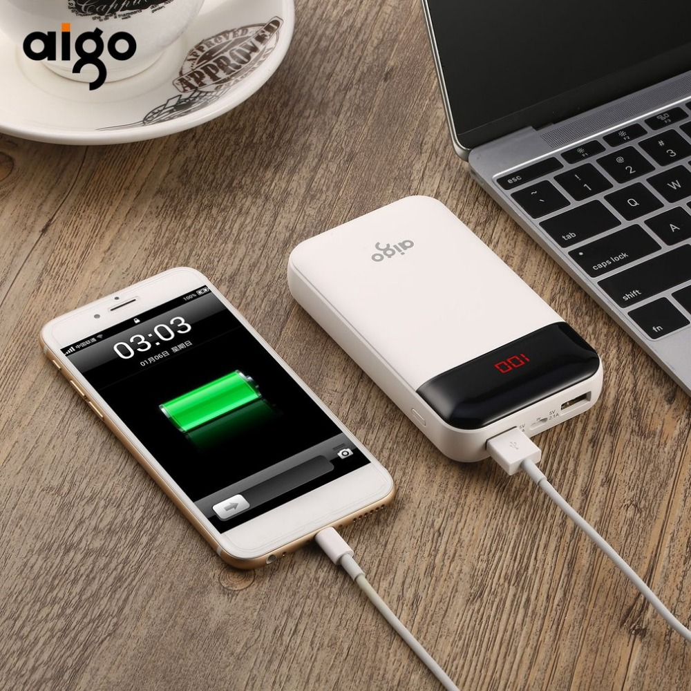 Aigo Power Bank 10000 mAh Portable External Battery Pack LED screen Powerbank xiaomi 20000mah pover bank iphone samsung