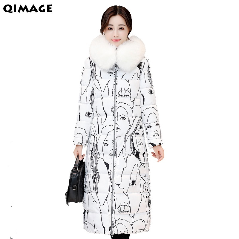 2017Women Coats Winter Long Parkas Large Fur Collar Cotton Padded Coat Women Print Winter Parka Plus Size Female Outwear JacketÎäåæäà è àêñåññóàðû<br><br>