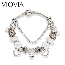 VIOVIA New White Glass Charm Bracelets & Bangles Silver Color Heart Charm Beads Fit Pan Bracelets For Women Jewelry B16098