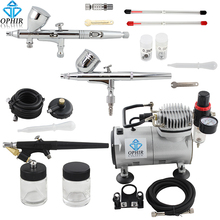 OPHIR Pro 3 Airbrush Kits with Air Compressor for Model Hobby Makeup Cake Decorating Airbrush Compressor Set _AC089+004A+071+070(China)