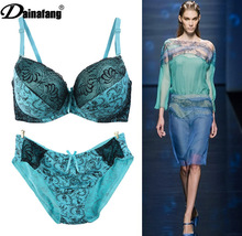 D DD E DDD Cup Bra and Panty Sets Sexy Secret Paisley Underwear Women's Push Up brassiere Blue Spandex Lingerie Size 75 80 85 90