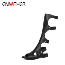 ENMAYER 2016 Women Sandals Summer Sexy Knee High Boots Elastic band Sandals Women Casual Flats Shoes Designer Boots For Women