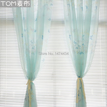 Fresh voile curtain balcony window screening yarn blue garden curtains for living room butterfly flower beautiful sheer blind