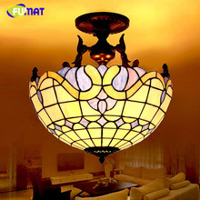 FUMAT Glass Art Ceiling Lamp Baroque Mediterranean Style LED Stained Glass Classic Light Fixtures Living Room Kitchen Bar Lights