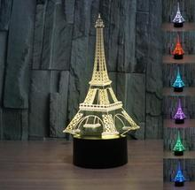3D illusion Romantic France Eiffel Tower bedroom night color change USB Touch button LED desk table light lamp action figure toy