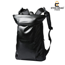 ETONWEAG Brands Leather School Backpacks For Boys Black Fashion Designer School Bags Hooded Travel Backpack Rainproof Luggage(China)