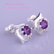 E491 High Quality! Wholesale Low Price Silver Plated CZ Zircon Zircon Fashion Jewelry Ear Studs Earrings 4 Colors Select