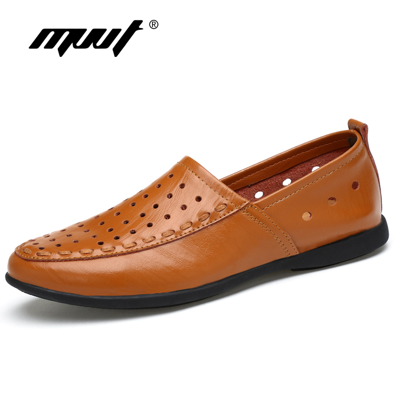 MVVT Brand Light Weight Mens Loafers Genuine Leather Casual Shoes Men Plus Size Men Flats Driving shoes White Summer Shoes<br>