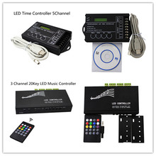 3 Channel DC12V-24V 6A*3 20Key LED Music Controller with Remote,LED Time Dimmer RGB Controller 5Channel for led strip bar light