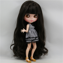 Factory Blyth Doll Nude Doll 300BL950 Black Long Wavy Hair With Bangs China Style Joint Body 4 Colors For Eyes Suitable For DIY(China)