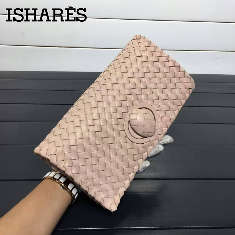 ISHARES woven sheepskin day clutches genuine leather rotary switches casual clutch women handbags fashion cover closure IS6659<br><br>Aliexpress