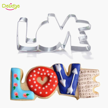 Delidge 1pc Stainless Steel Cookie Cutter LOVE Letter Biscuit Fondant Baking Mold DIY Fondant Cake Decorating Tools