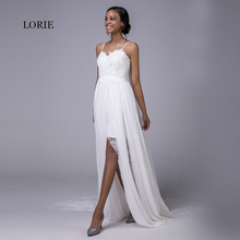 Buy LORIE Beach Wedding Dress Cheap Princess Backless Spaghetti Strap Caped Chiffon Lace White Bride Dress Wedding Gown 2018 mariage for $106.56 in AliExpress store