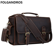 Brand Genuine Leather DSLR Camera Bag Designer Briefcases Men Laptop DSLR Shoulder Bag Versatile Vintage Men Handbag Best Gift