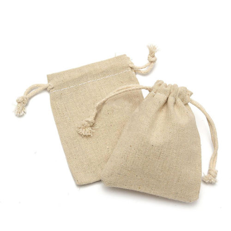 10//50Pcs Small Burlap Linen Jute Sack Jewelry Rustic Pouch Drawstring Gift Bags