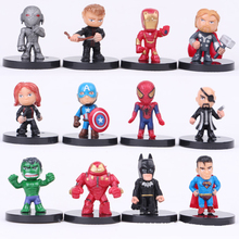 SAINTGI 12pcs/set Avengers Spiderman Iron Man Superman Hulk Captain American Predators Freddy Thor Figures Super Hero 4CM