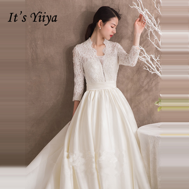 It's YiiYa Wedding Dress V-neck Lace Patchwork Stain Long Train Wedding Dresses Back Peals Buttons Lace Up Wedding Gowns G059