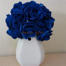 100X Artificial Flowers Royal Blue Roses For Bridal Bouquet Wedding Bouquet Wedding Decor Arrangement Centerpiece Wholesale Lots(China)