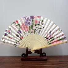 Vintage Chinese Style Silk Dance Fan Hand Fan Bamboo Folding Fans Butterfly Flower Asian Pocket Stage Performance Fan ZA3100(China)