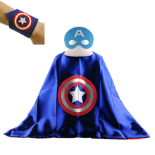 New 1pc Cuff+1cape+1mask Kids Superhero Capes Super Hero Costume Kid Cloak Superman Batman Baby Boy Girls Birthday Party Cloth(China)