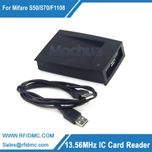 Free shipping--13.56MHz RFID IC Card Reader RIFD Reader with testing card(China)