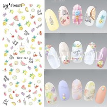 1 sheet Fruit Nail Water Decals Pastel Fruit Transfer Stickers Flowers Nail Art Sticker Tattoo Decals(China)