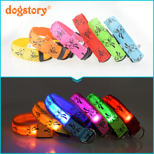 1Pieces /Dogstory Glow LED Nylon Pet Cat Dog Collar Fashion Printing For Dog Harness Pet Collars Wholesale Christmas Accessories
