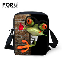 FORUDESIGNS Funny Printing Frog Messenger Bag for Men Mini Little Boys Crossbody Bags with Zipper Cool Child Baby Kids Mini Bags