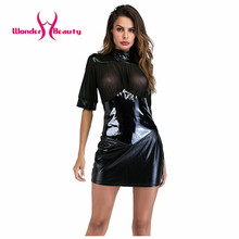 Buy Sexy Wetlook Faux Leather Dresses Open Bust See Mesh Robe Sexy Bandage Club Erotique Pole Dance Stripper Fetish Dress