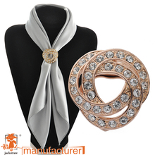 Fashion Wholesale Three-dimensional Wound Alloy Rhinestone Brooch Dual Purpose Scarf Clip Cheap Brooches For Wedding(China)