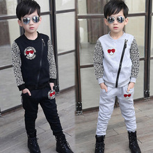 2015 Autumn New Korean Boy Child Baby Leopard Shirt Sleeved Tracksuit Clothes(China)