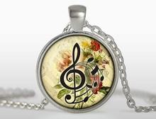 New Fashion Silver Chain Music Key Dancers Pendant Necklaces Round Flower Photo Jewelry Glass Dome Necklace Gift Music Lover