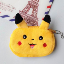 Kawaii Popular Pikachu BAG , 12*7CM Plush Storage Box Coin Purse bag , Sundries Keys Wallet Box keychain Pouch Organizer(China)