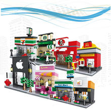 Loga City Series Mini Street Model Lepin Apple Store McDonald Building Blocks Building Toy 8PCS/Set for Kids Toys Gift