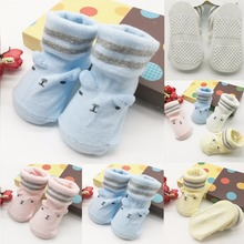 Baby Anti Slip Newborn 0-6Month Cotton Lovely Cute Shoes Animal Cartoon Slippers Boots Boy Girl Unisex Skid Rubber Sole Socks(China)