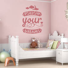 'Follow your dreams' wall decal lovely Home Decor Bedroom Living Room Art Stickers Removable Vinyl Pure Color Wall Sticker ZA185(China)